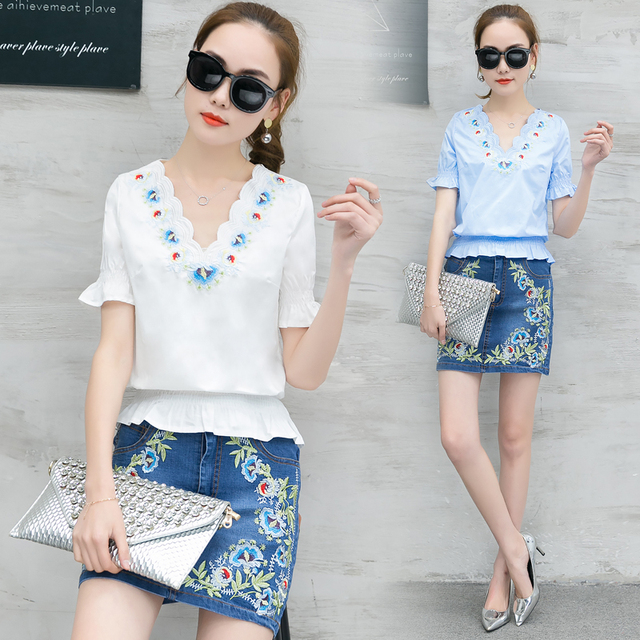 8713f4d92a Women V Neck Blouse Denim Skirt Outfit New Korea Fashion Embroidery Decor  Two-Piece Woman Cowboy Short Skirts Suit Size S-2XL