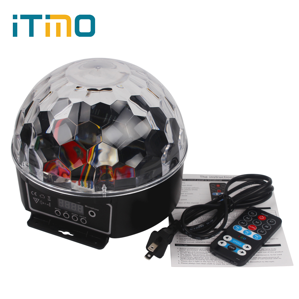 27W US EU Plug Stage Lighting Effect Light LED Crystal Magic Ball Bulb for Party Disco DJ Bar Lighting Show RGB Atmosphere Lamp dmx512 127 led rgb effect light stage light for disco dj party show black eu plug ac 90 240v