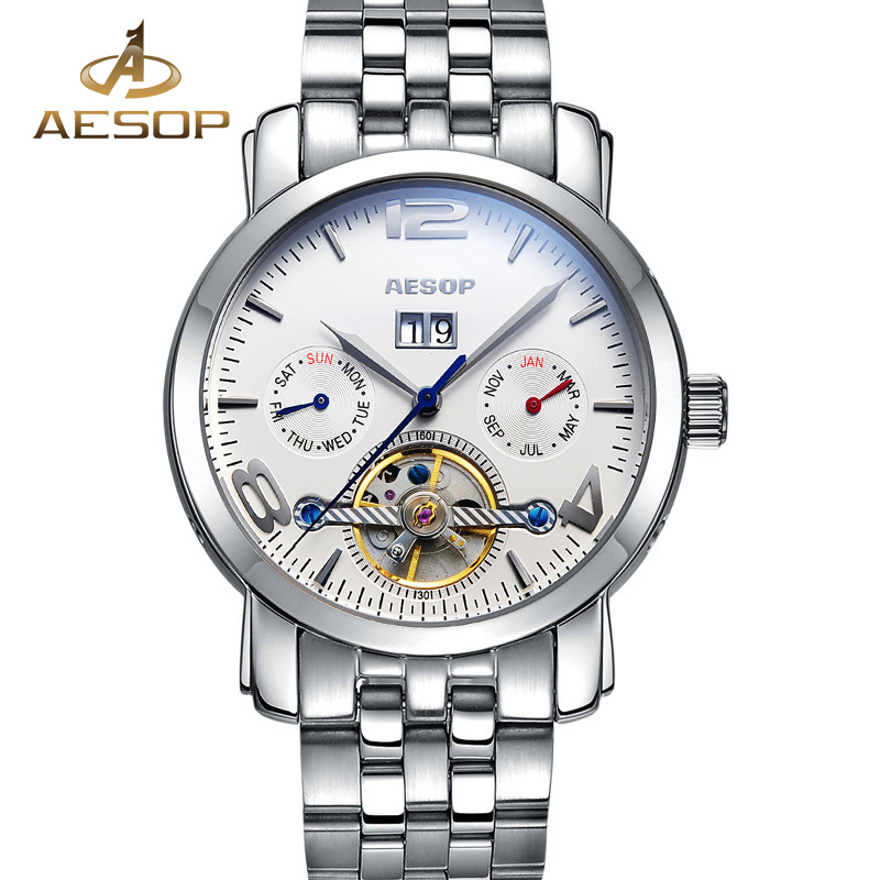 AESOP Automatic Mechanical Watch Men Stainless Steel Wristwatch Male Clock Wrist Relogio Masculino Hodinky Calendar Hodinky 27 aesop luxury men watch men brand automatic mechanical wrist stainless steel wristwatch male clock relogio masculino hodinky 46