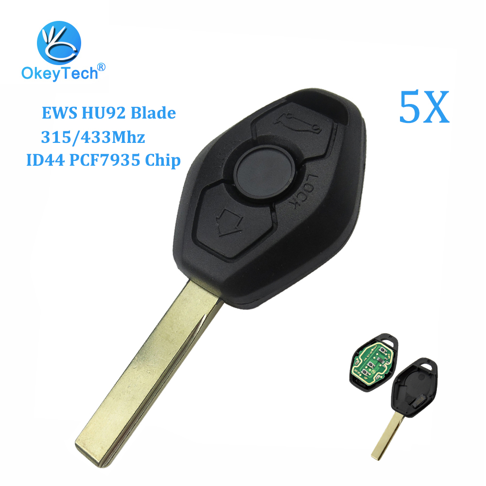 EWS Remote Key 3 Button For Old BMW Mini Cooper 315//433MHZ ID44 CHIP HU92