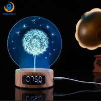 Bluetooth Alarm Clock Projection Audio Galaxy 3D Night Light Colorful Digital Table Wooden Clock Gadgets Electronic for kid gife
