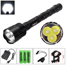 6000 Lumen 3X Xm-l LED Senjata Pistol Putih Taktis Berburu Senter Senapan Airsoft Mount + Remote Switch + 18650 + Charger(China)