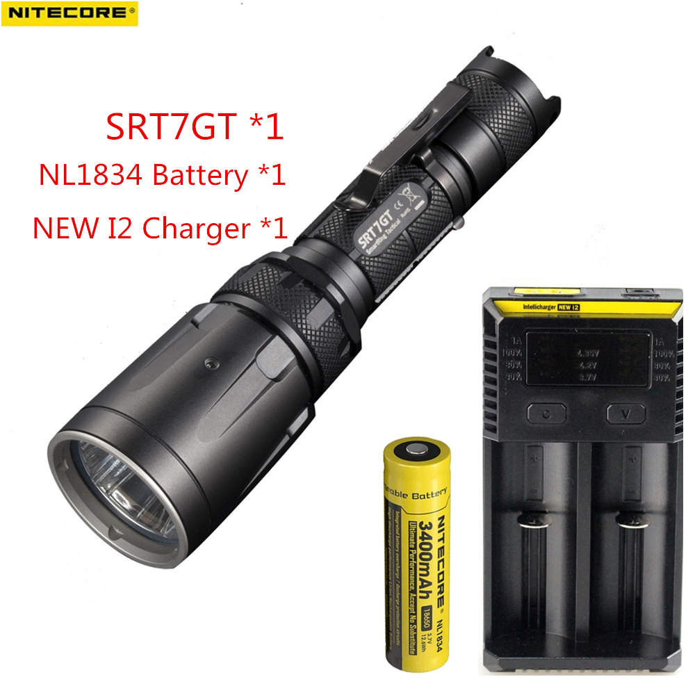NITECORE SRT7GT CREE XP-L HI V3 Red Green Blue UV LED Flashlight max 1000LM beam distance 450 meter tactical torch hunting light nitecore p12gt cree xp l hi v3 1000lm led flashlight 320 meter torch new i2 charger 18650 3400mah battery for search