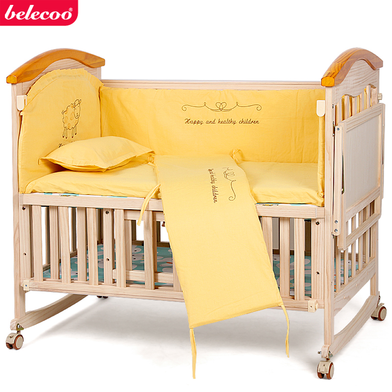 Crib with solid wood multi-function bed without paint green cradle bed neonatal BB children's bed multi function green