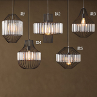 American Style Loft Black Iron Crystal Pendant Lights Metal Restaurants Living Rooms Bar Cafes Hanging Lighting