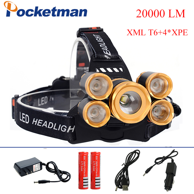 2018 HOT 20000 Lumens 5 CREE LED Headlamp XML T6 +4*XPE Flashlight Head Lamp Camp Hike Emergency Light Fishing Outdoor Equipment