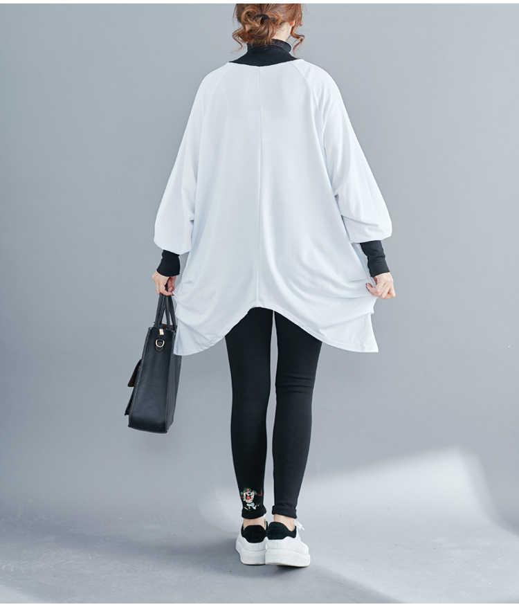 Più il Formato Del Manicotto Della Lanterna Pieghettato Bordo Irregolare Casual Mid-Long Maglione T shirt Primavera Autunno Dolcevita Solido Sciolto Camicie top