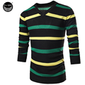 Male Sweater Pullover Men 2017 Male Brand Casual Slim Sweaters Men Color Stripes Printing Hedging V-Neck Men'S Sweater 2XL V