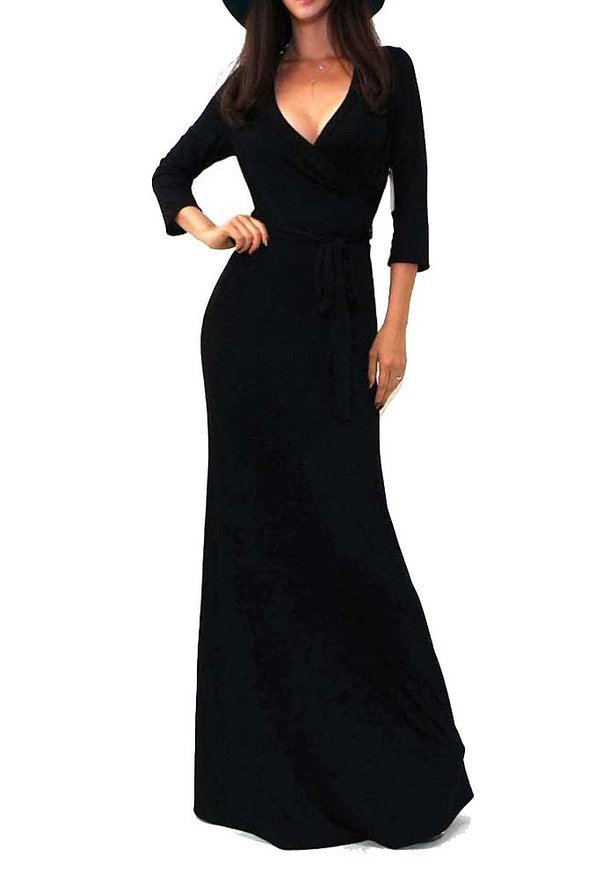 elegant women dress Sexy Slim Fit 3/4 Sleeve Deep V-Neck Long Party Dress