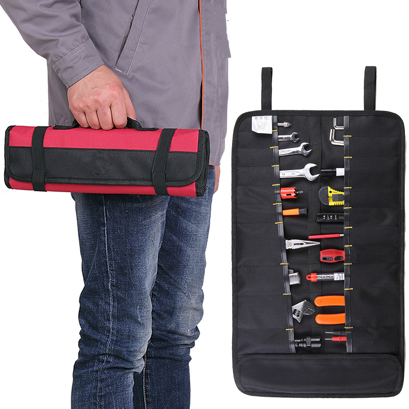Hot Roll-feed Portable Tool Bag Oxford Fabric Repair Tool Holder Screwdriver Plier Wrench Storage Bag Hardware Tools Package