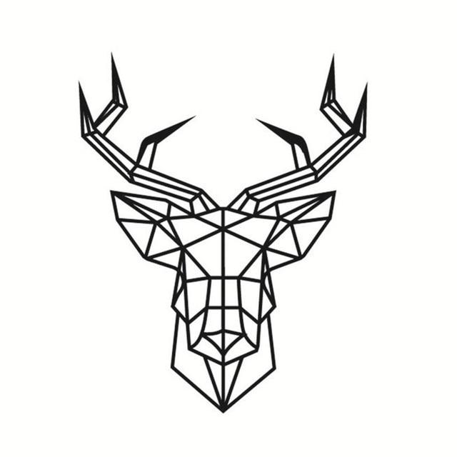 Simple Creative Geometric Deer Head Pattern Wall Sticker Self adhesive PVC Wallpaper Cool Deer