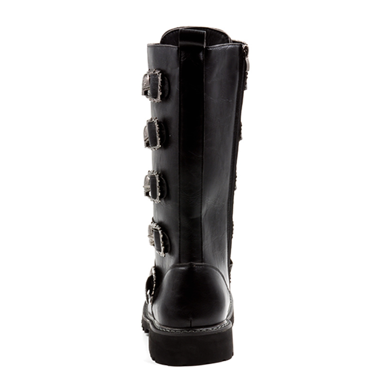 Hombre Pu Cosidram Mâle Top Hommes En Crâne Taille Noir Moto Chaussures Botas Plus Bottes D'hiver La Rmc 132 45 Mi mollet High Cuir XiuZOPk