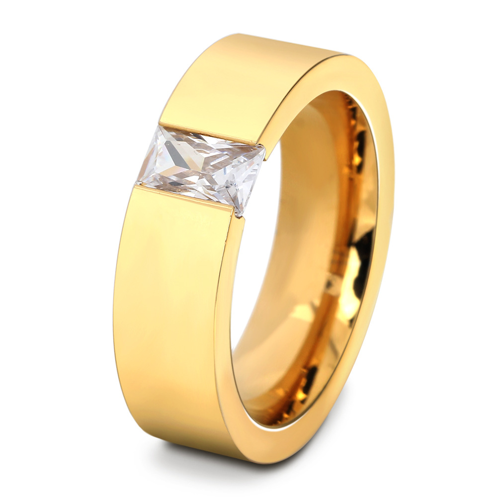 free shipping Fashion Crystal Zircon Jewelry Two Color Plated Ring Classic 316L Stainless Steel Rings For Women Men