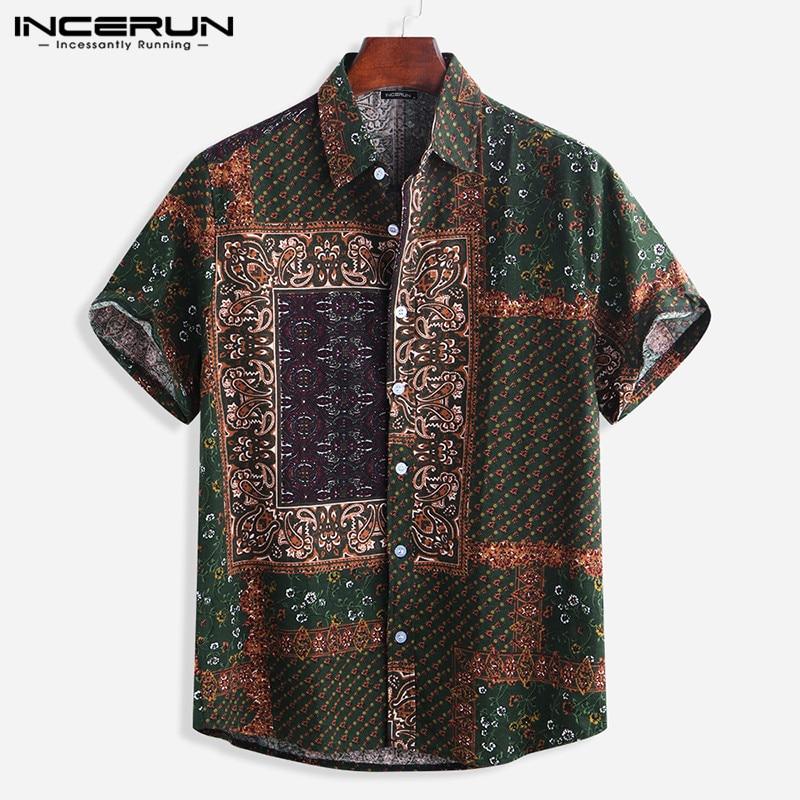 INCERUN Vintage Casual Print Mens Shirt Lapel Neck Short Sleeve Loose Hawaiian Shirts Men 2020 Camisa Masculina Streetwear S-5XL