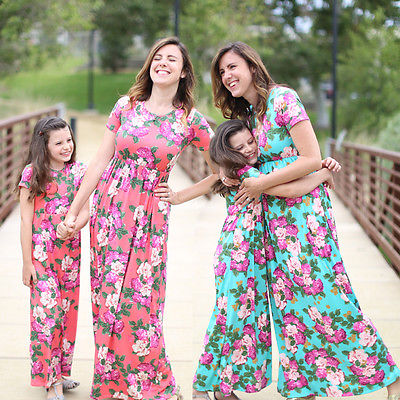 51f7a91f0b79 Floral Plus Size Mother Daughter Matching Dress Outfits Short Sleeve Red  Green Summer Women Girls Maxi Beach Dresses Clothes