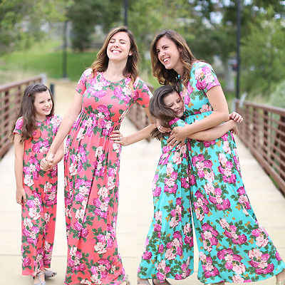 a1fcc82a1de94 Floral Plus Size Mother Daughter Matching Dress Outfits Short Sleeve Red  Green Summer Women Girls Maxi Beach Dresses Clothes