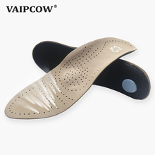 Buy Genuine Leather orthotics Insole for Flat Foot Arch Support varus Plantar fasciiti orthopedic Silicone Insoles for men and women directly from merchant!
