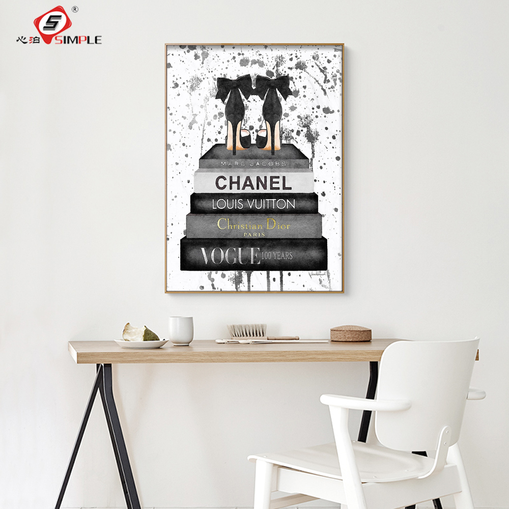 Simple Fashion Picture Vogue High Heel Prints Wall Art Pictures For Living Room Home Decor Vertical Rectangle Unframed