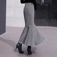 Autumn Winter Long Plaid Skirts Women Vintage Black White Thick Midi Woolen Mermaid Skirt Fashion Office Ladies Work Wear 2360LY