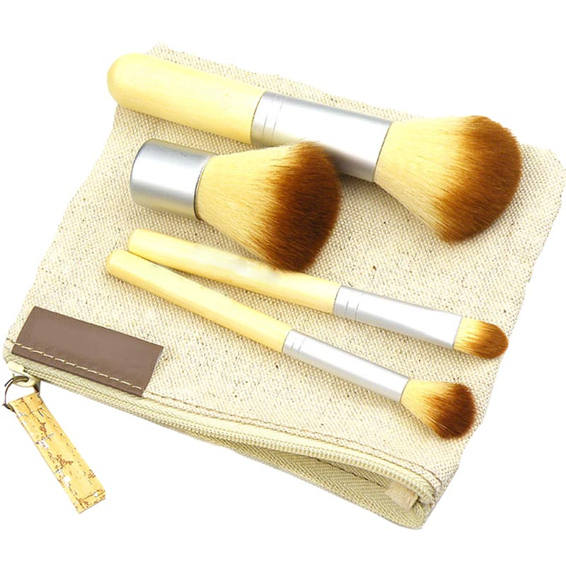 все цены на Convenient Bamboo 4 piece Makeup brush set travel size Free shipping wholesale drop shipping онлайн