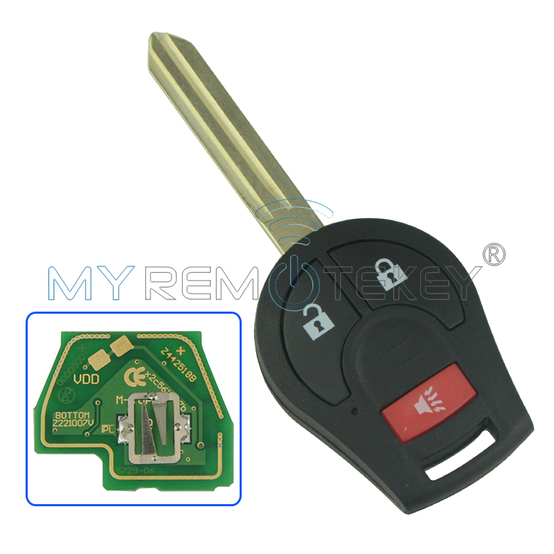 2pcs Remote key 2 button with panic for 2008-2013 Nissan Cube Rogue 315mhz with ID46 chip CWTWB1U751 remtekey
