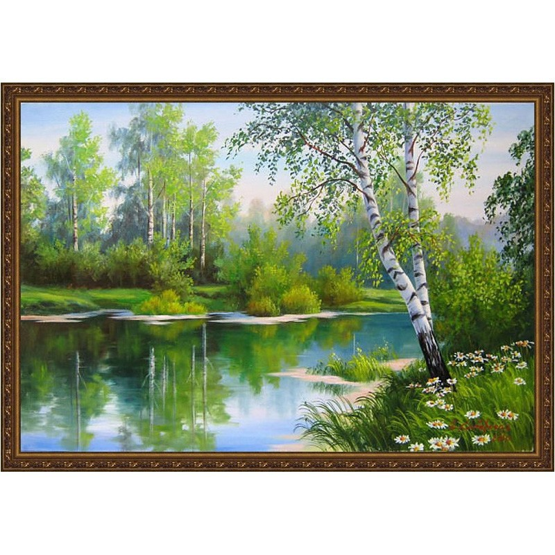 Diamond embroidery forest tree and river diy diamond painting cross stitch crystal square drill unfinish decorative sets BK-2246