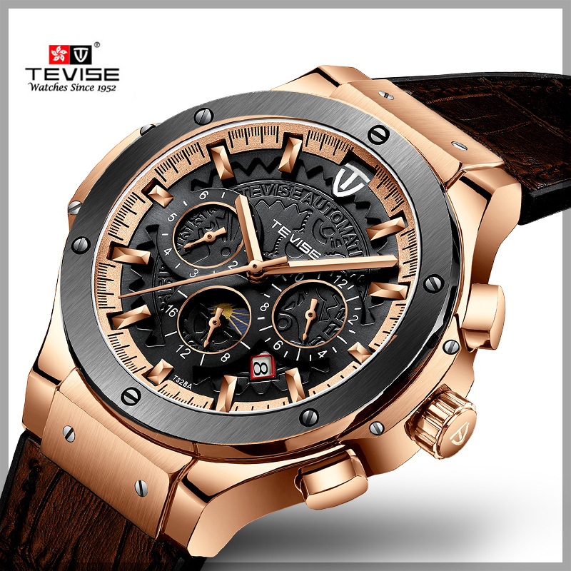 TEVISE Top Brand Luxury Auto Mechanical Watch Men Leather Strap Six Needles Dial Royal Classic Wristwatches For Man 2019 Fashion