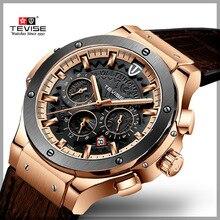 TEVISE montre mécanique en cuir pour hommes, marque de luxe, bracelet en cuir, Six aiguilles, cadran, classique Royal, à la mode 2019