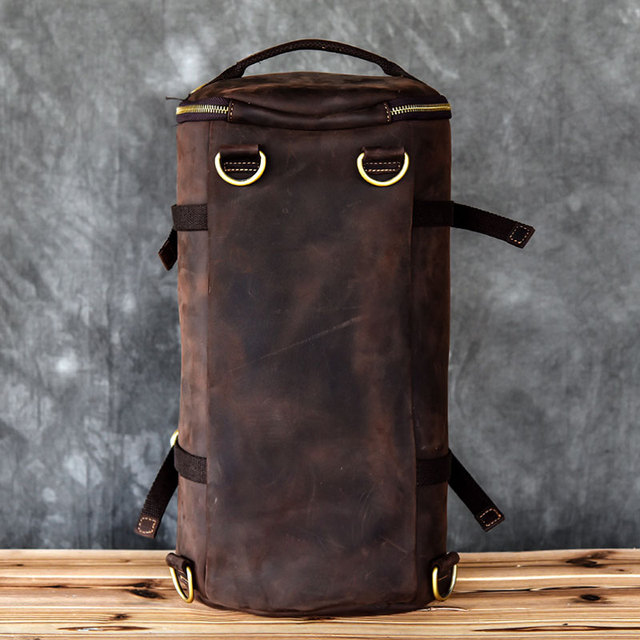 Large capacity man travel bag mountaineering backpack men bags hand Crazy Oli Genuine leather bucket shoulder