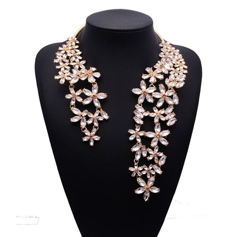 2017 Spring Summer New Hot Fashion Jewelry Chunky Gem Crystal Flower Choker  Necklace Single Shoulder Statement 585c82c44bf7