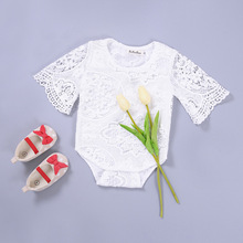 New Arrival Baby Girls Bodysuits Summer Style White Lace Short Sleeve Toddler Fashion Hollow Out Jumpsuit Newborn Kids Clothing