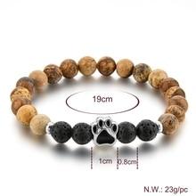Tiger's Eye Dog Paw Charm Bracelet