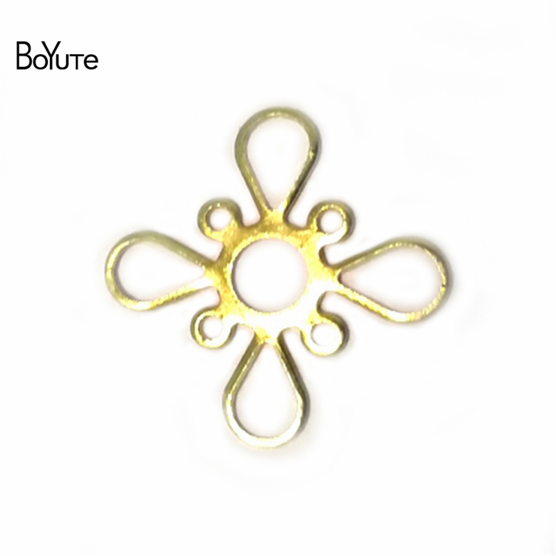 BoYuTe 100Pcs Metal Copper Filigree Stamping Plate Flower Diy Hand Made Jewelry Findings Components
