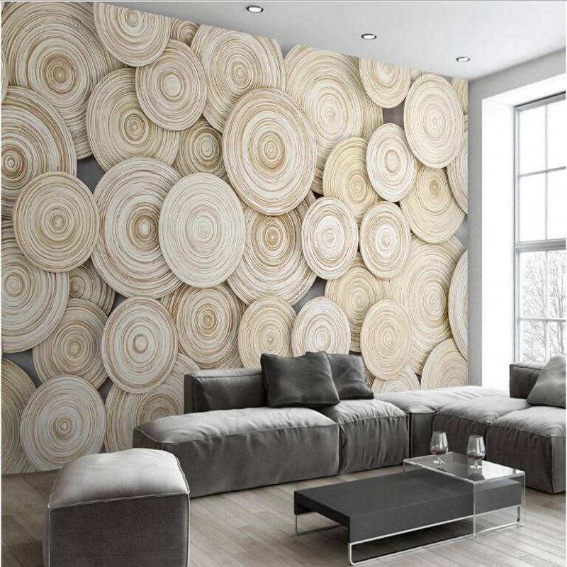 Beibehang Custom Large Fresco Ring Simple Natural Modern Wood Video Background Wall Nonwovens