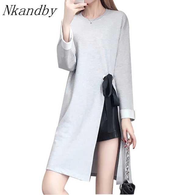 Nkandby Plus size Tops 2018 Spring Women Clothing Fashion Long sleeve  A-line Loose High Slit Solid Tie up 5XL 4XL XXXL Dresses fcdcc55d1f96