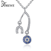 Forewe New Crystal Blue Evil Eye Pendant Necklace With 925 Sterling Silver Alphabet U Necklace For