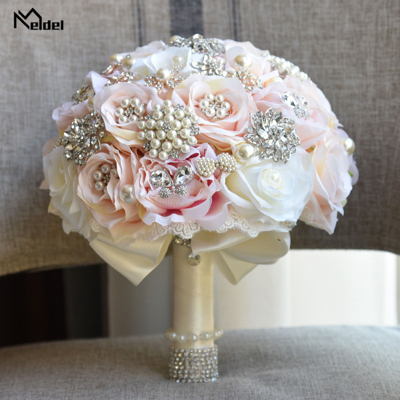 Meldel Bride Wedding Bouquet Bridesmaid Rose Posy Round Artificial Luxurious Silk Rose Bouquet Pink Crystal Pearl Wedding Flower