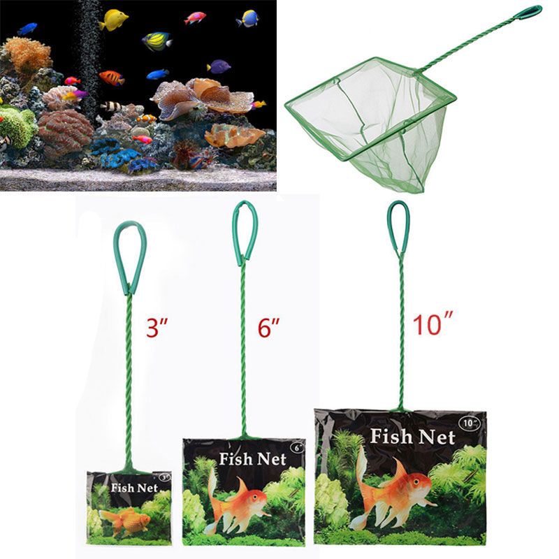 Portable Fish Net Long Handle Square Aquarium Accessories Fish Tank Landing Net Fishing Net Fish Floating Objects Cleaning Tool