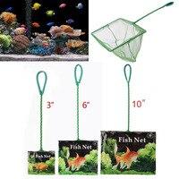 Rede de peixes portátil alça longa quadrado acessórios do aquário tanque de peixes rede de pesca de pouso de pesca flutuante objetos ferramenta de limpeza|Ferramentas de limpeza| |  -