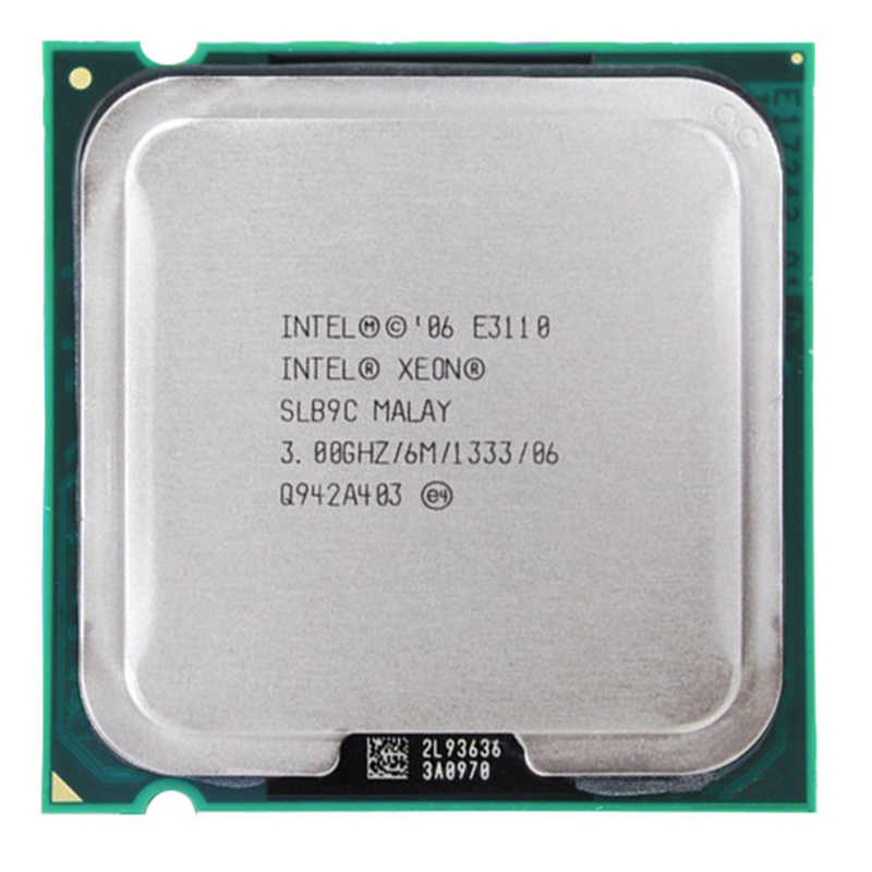 مقبس معالج Intel XEON 2 CORE E3110 LGA 775 CPU 3.0GHz LGA775 6MB L2 ثنائي النواة FSB 1333MHz