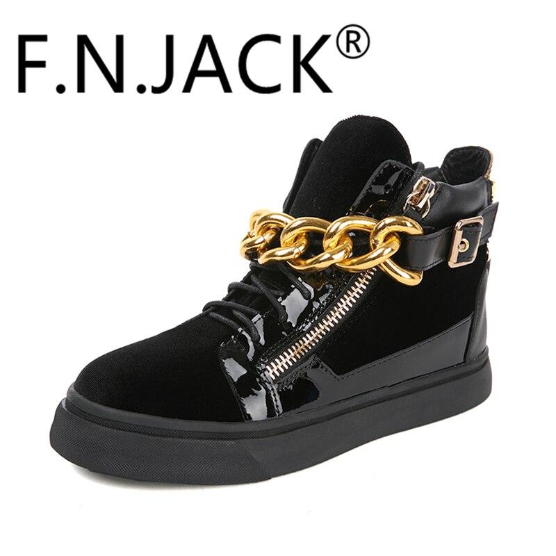 Hommes de Mode Sneakers Londres TR Raso Noir Chaîne Bracelet En Cuir Salut-Top Chaussures F. N. JACK