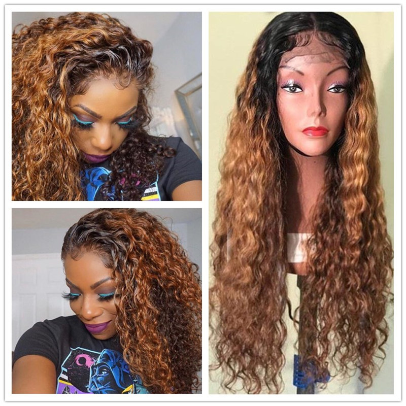 Wig Long-Wigs Lace-Frontal Human-Hair-Preplucked Ombre Women Full-Black 360 End Curly