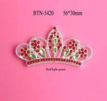 Free shipping 56 30mm flatback Christmas red light green rhinestone tiara  crown embellishment 100PCS (BTN-5420) 7c4836dbb537