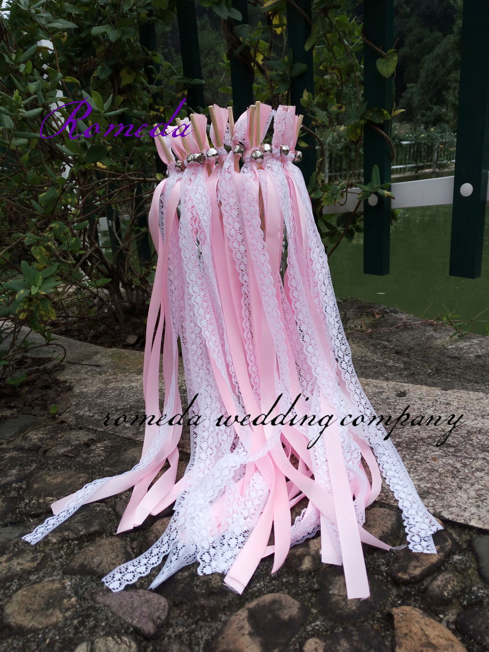 Style D New Arrived 3 Ribbons stick lace wedding wands Pink Ribbon Birthday Party christamas ribbon
