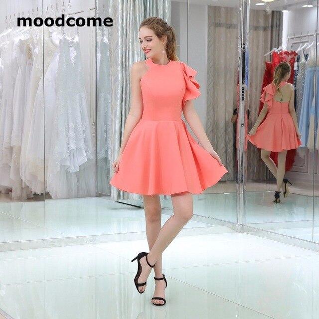 2018 Simple Cheap Bridesmaid Dresses O Neck Mini Beach Pleat Satin Custom  Made Plus Size Bridesmaid f43e7272c2a3