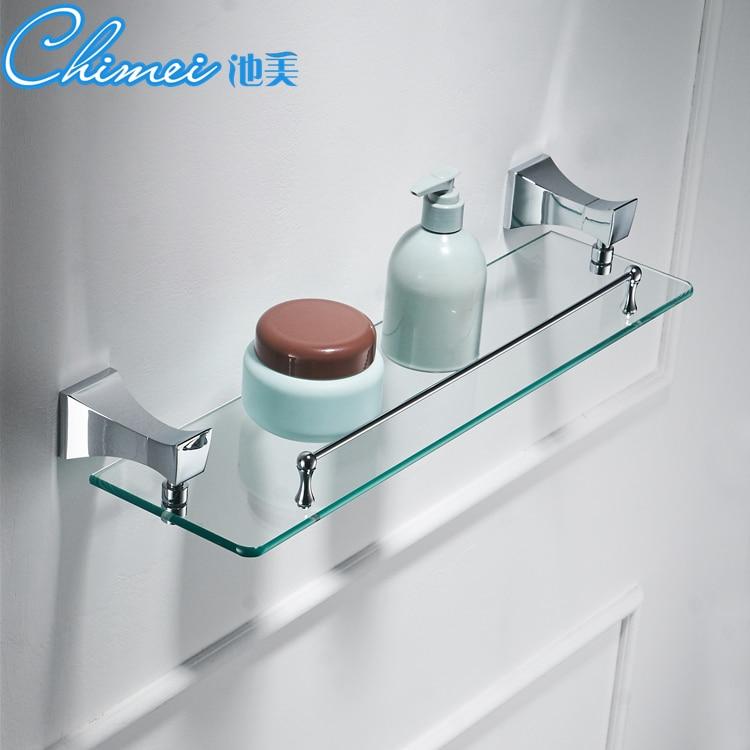 Modern European-style Bathroom Copper Single-layer Glass Shelves Cosmetics Stand Bathroom Racks Bathroom Accessories YM083 washroom bathroom double toothbrush holder gold european style copper tumbler