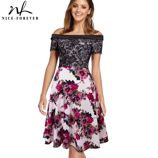 Nice-forever Elegant Sexy Stylish Work Off Shoulder A-line Gown Flower Lace Patchwork Women Casual Formal Black Dress A051