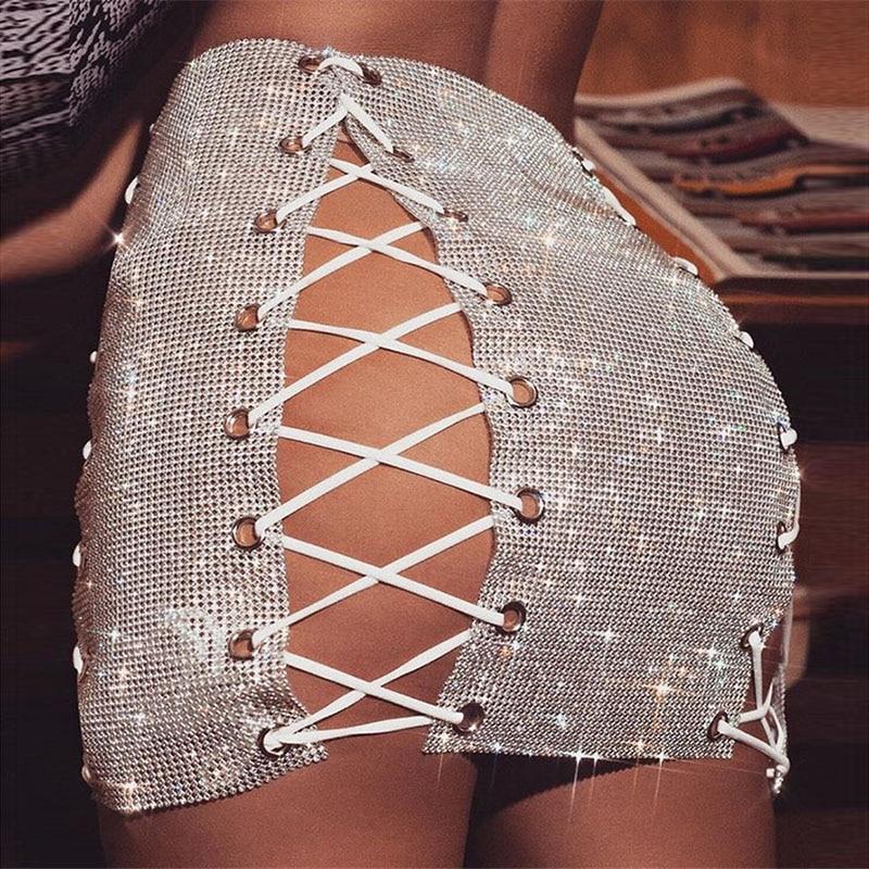 Luxury Glitter Metal Crystal Diamonds Skirts Women Hollow Out Diamonds Rhinestone Lace Up Sexy Clubwear Nightclub Mini Skirt