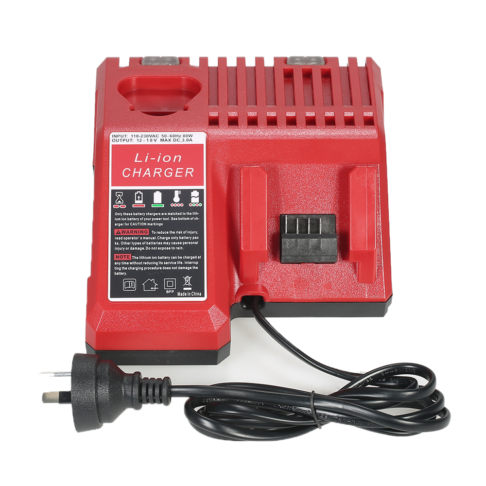Replacement Li-ion Battery Charger Power Tool Lithium-ion Battery Charger for Milwaukee M12 M18 Battery Packs AC110-230V 18v li ion 3000mah replacement power tool battery for milwaukee m18 xc 48 11 1815 m18b2 m18b4 m18bx li18 with power charger