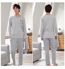 Autumn Men Pajamas Long Sleeve Pijama Male Pajama Set Men Striped Pyjamas Cotton Pajamas For Men Sleepwear Homewear Sleep Lounge